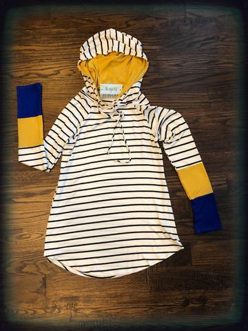 Striped Hoodie Royal & Mustard Color Block Cuff