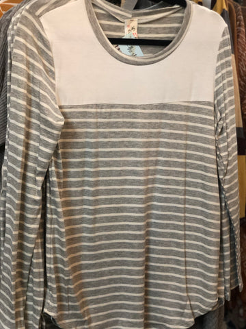 Heather Grey Striped Elbow Patch Knit Tunic Elbow Patch