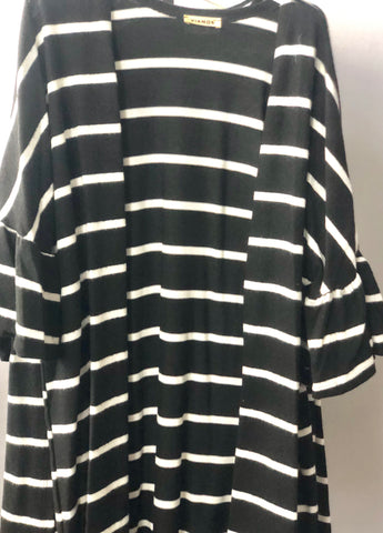 3/4 Ruffle Sleeve Striped Cardigan