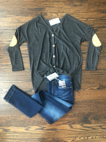 Charcoal Buttoned Front