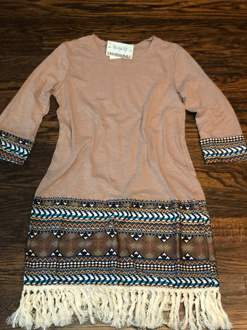 Khaki Dress Aztec Detail Fringe Bottom Detail