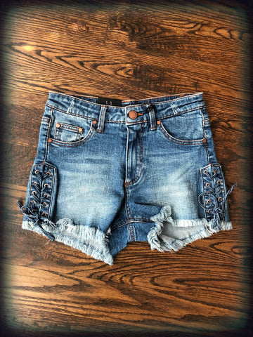 Lace Up Sides Vintage Washed Denim Shorts