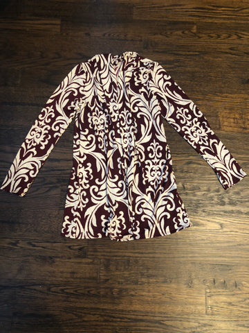 Burgundy Patterned Cardigan