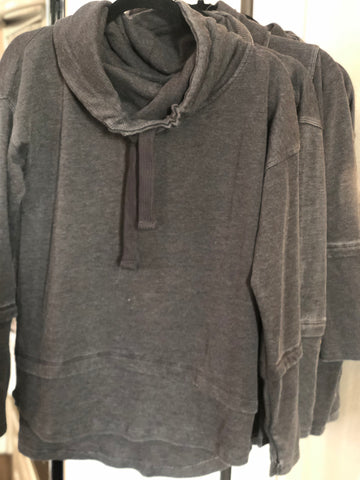 Black Mineral Wash Cowl Neck Pullover