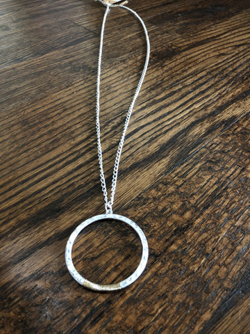 Round Silver Pendant Gold Wire Wrap Accent