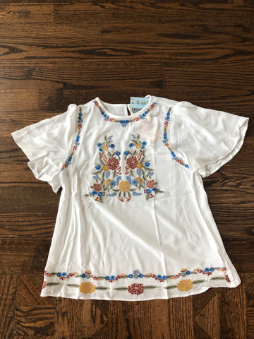 Off White Embroidery Top