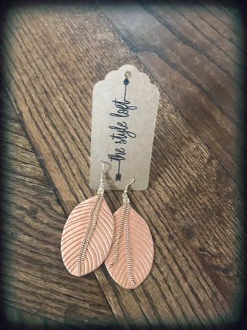 Copper Leaf Leather Earrings