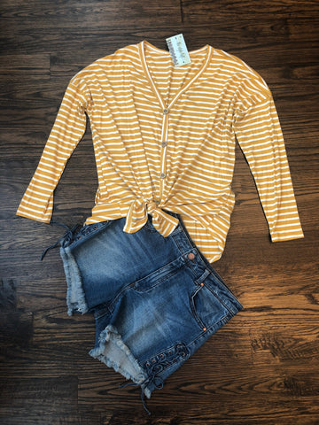 Mustard/Ivory Striped Buttoned Front Knotted Top