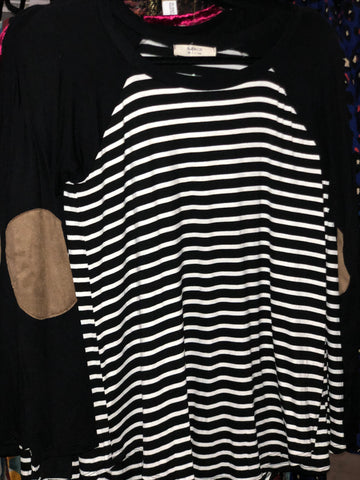 TSL Black Striped Raglan with Elbow Patch Sleeve