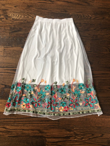 Flower Garden White Embroidered Skirt