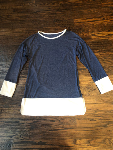 Dark Blue Long Sleeve Fleece Tunic