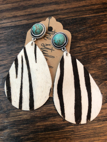Turquoise Stud Zebra Leather Earrings