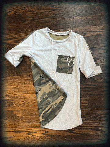 French Terry Grey Distressed Camo Pocket, Sleeve & Back