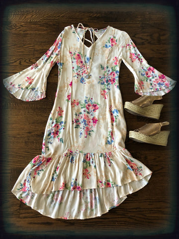 Cream Floral 3/4 Bell Sleeve High Low Dress