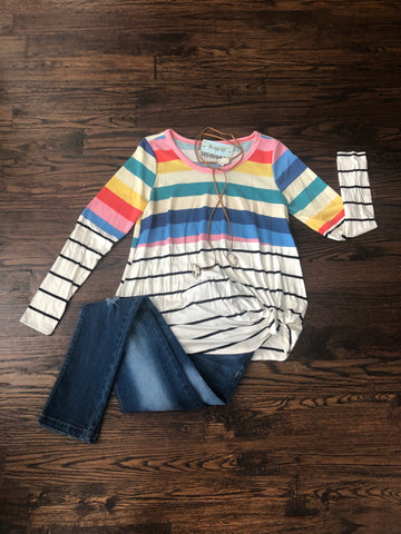 Multi Color Stripe Mix Match B&W Stripe Knotted Tunic