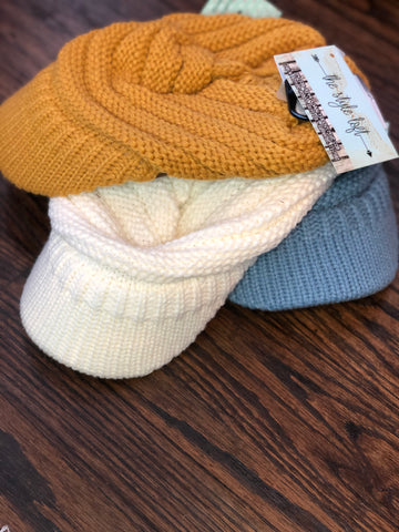 CC Ponytail Messy Bun Knit Brim Hat