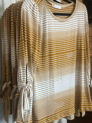 Mustard Striped Tunic Tie Accent 3/4 Sleeves