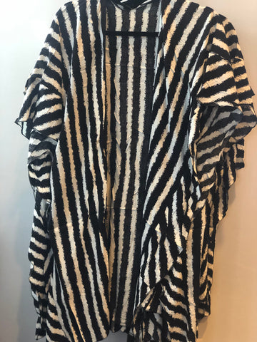 Black & White Striped Kimono Ruffles Sleeves