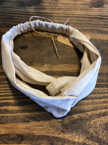 Ivory Striped Twist Headband