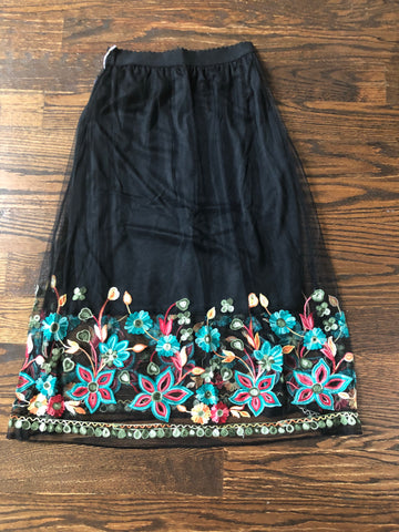 Flower Garden Black Embroidered Skirt