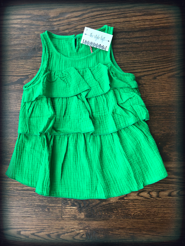 Green Ruffled Layered Tank Top