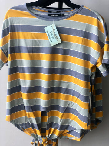 Yellow Multi Stripe Tie Top