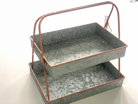 Copper Tin 2 Tier Tray