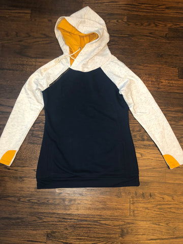 Navy/Oatmeal French Terry Double Hoodie