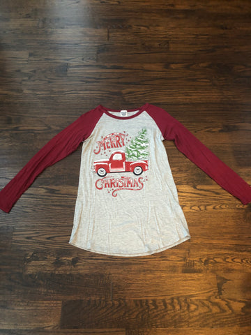 Burgundy Raglan Merry Christmas