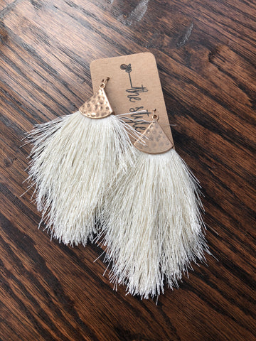 Ivory Tassel Hammered Metal Accent Earrings