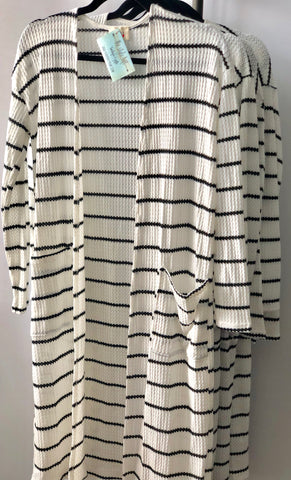 Ivory/Black Striped Thermal Open Front Cardigan
