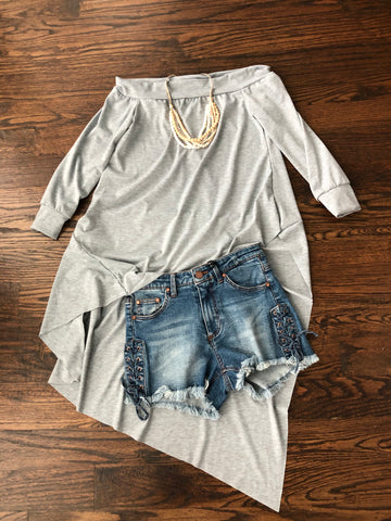 Grey Off Shoulder Tunic