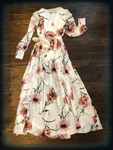 Ivory Floral Print Long Sleeve Maxi Dress