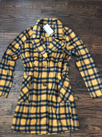 Mustard Plaid Long Jacket
