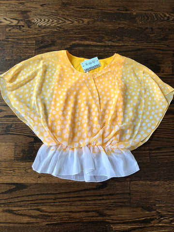 Cyber Yellow Polka Dot Flutter Sleeve Blouse