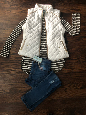Olive Striped Jersey Tunic