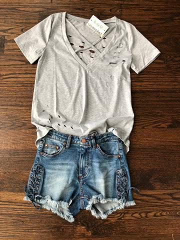 Grey Tattered Tee