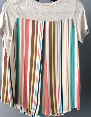 Peach Multi Stripe Back & Pocket Tunic