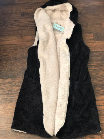Black/Off White Plush Vest