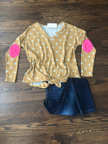 Mustard Dot Knotted French Terry Tunic Hot Pink Elbow Patch