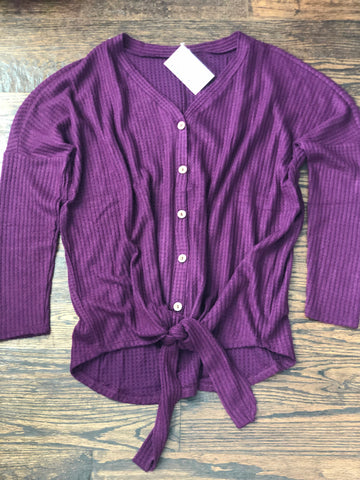 Dark Plum Waffle Button Down Tie Shirt