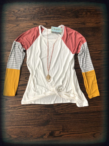Ivory/Peach Color Block Front Twist Top