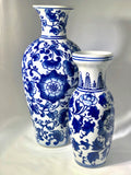 Blue & White Curved Chinoiserie Vase