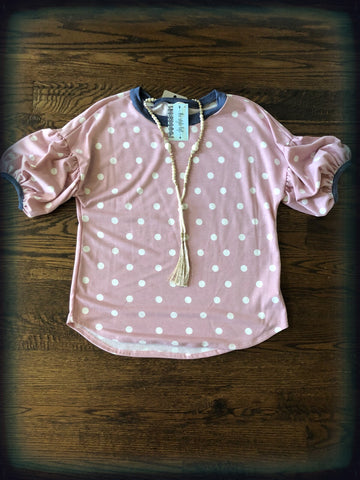 Dusty Pink Dotted French Terry, Balloon Sleeve