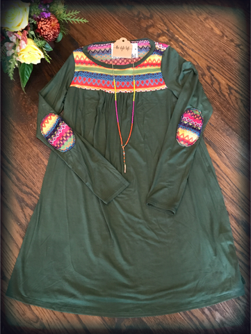 Olive long sleeve Dress with Embellishment