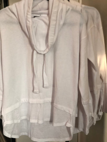 White Mineral Wash Cowl Neck Pullover