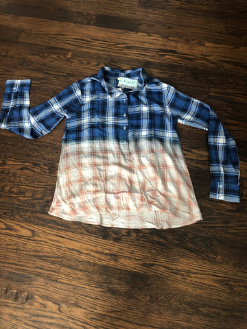 Blue Plaid Hombre Twisted Front Shirt