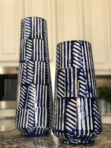 Modern Blue Painted Vase