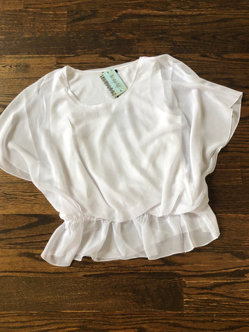 Pure White Flutter Sleeve Blouse