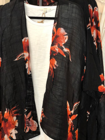 Black High Low Flower Print Kimono